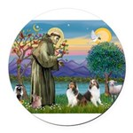 St.Francis (W) - 2 Shelties ( Round Car Magnet
