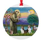 St.Francis (W) - 2 Shelties ( Round Ornament
