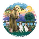 St.Francis (w) / 2 Shelties Round Car Magnet