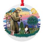 St.Francis #2/ Sheltie (tri) Round Ornament