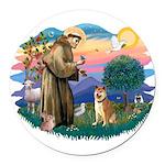 St Francis #2/ Shiba Inu Round Car Magnet