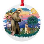 St Francis #2/ Shiba Inu Round Ornament