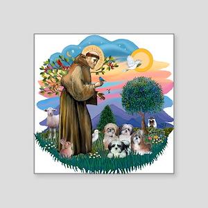 St.Francis #2/ Shih Tzus (4) Square Sticker 3&quot