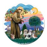 St.Francis #2/ Shih Tzus (4) Round Car Magnet