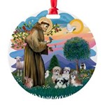 St.Francis #2/ Shih Tzus (4) Round Ornament