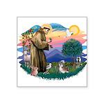 St.Francis #2/ Shih Tzu (#8) Square Sticker 3&quot