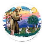St.Francis #2/ Shih Tzu (#8) Round Car Magnet