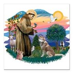 St Francis #2/ S Husky #2 Square Car Magnet 3