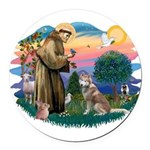 St Francis #2/ S Husky #2 Round Car Magnet