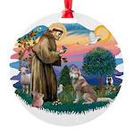 St Francis #2/ S Husky #2 Round Ornament