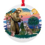 St Francis #2/ S Husky #2 Round Ornament