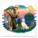 St.Francis #2/ S Husky (W) Square Car Magnet 3&quo