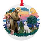 St.Francis #2/ S Husky (W) Round Ornament