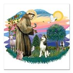 St.Francis #2/ Siberian #3 Square Car Magnet 3&quo