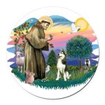 St.Francis #2/ Siberian #3 Round Car Magnet