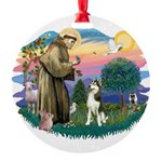 St.Francis #2/ Siberian #3 Round Ornament