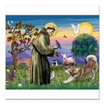 St Francis #2 / Red Husky Square Car Magnet 3
