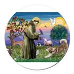 St Francis #2 / Red Husky Round Car Magnet