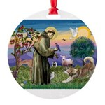 St Francis #2 / Red Husky Round Ornament