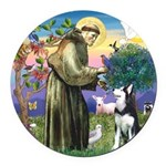St Francis & Husky Round Car Magnet