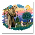 St.Francis #2/ Silky Ter.#9 Square Car Magnet 3&qu