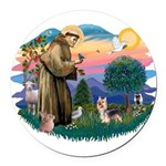 St.Francis #2/ Silky Ter.#9 Round Car Magnet