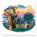 St.Francis #2/ Silkies (2) Square Car Magnet 3&quo