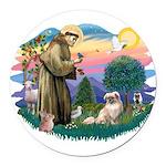 St.Francis #2/ Tibetan Span Round Car Magnet