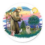 St.Francis #2/ Tibetan Spani Round Car Magnet