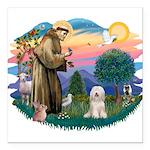 St.Fran#2/ Tibetan Terrier Square Car Magnet 3&quo