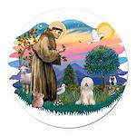St.Fran#2/ Tibetan Terrier Round Car Magnet