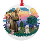 St.Fran#2/ Tibetan Terrier Round Ornament