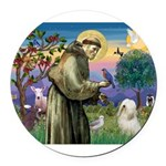 St. Fran #2 / Tibetan Terrier Round Car Magnet