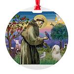 St. Fran #2 / Tibetan Terrier Round Ornament