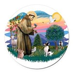 St.Francis #2/ Toy Fox Ter. Round Car Magnet
