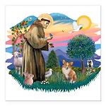 St.Francis #2 / Welsh Corgi ( Square Car Magnet 3&