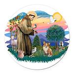 St.Francis #2 / Welsh Corgi ( Round Car Magnet