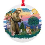 St.Francis #2 / Welsh Corgi ( Round Ornament