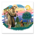 St Francis #2/ Welsh Ter. Square Car Magnet 3
