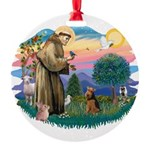 St Francis #2/ Welsh Ter. Round Ornament