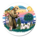 St.Francis #2/ Westies (2) Round Car Magnet