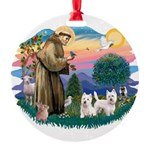 St.Francis #2/ Westies (2) Round Ornament