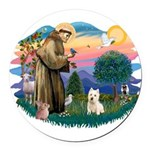 St Francis #2/ Westie Round Car Magnet
