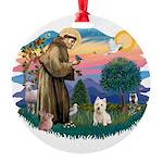 St Francis #2/ Westie Round Ornament