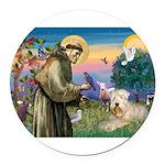 St. Fran #2 / Wheaten Terrier Round Car Magnet