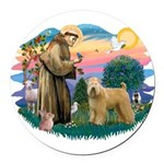 St Francis #2/ Wheaten Round Car Magnet