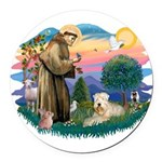 St Francis #2 / Wheaten Round Car Magnet