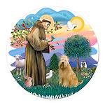 St Francis #2/ Wheaten #2 Round Car Magnet