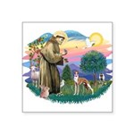St.Francis #2/ Whippet #12 Square Sticker 3""