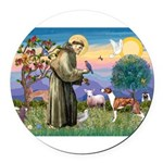 St Francis / Whippet Round Car Magnet